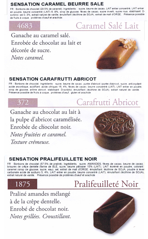 Descriptif chocolats Valrhona